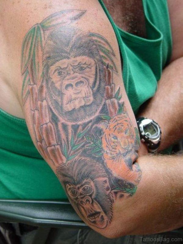 Crawling Monkey Shoulder Tattoo