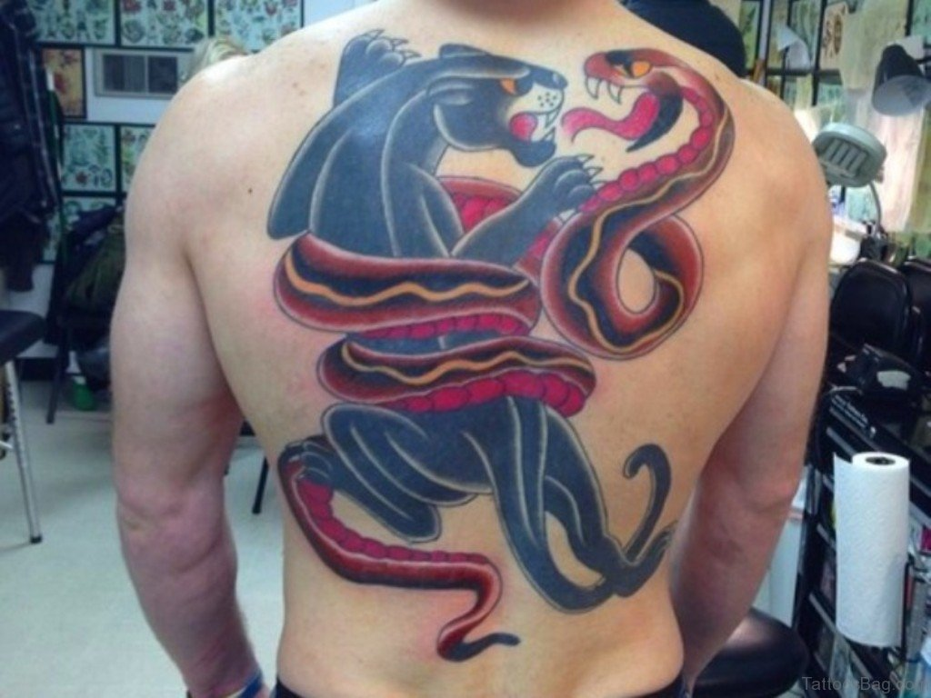 Crawling Panther And Snake Tattoo