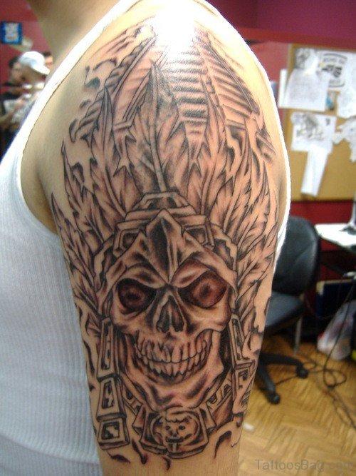 Creepy Aztec Skeleton Tattoo