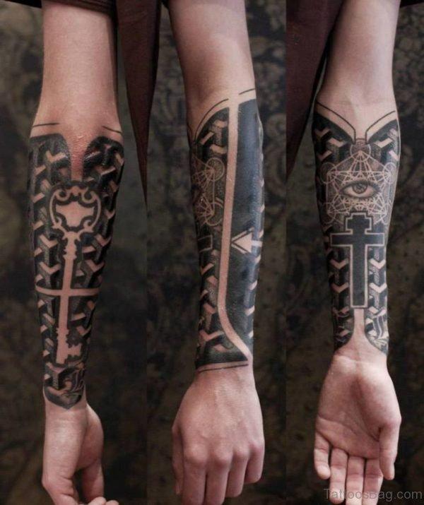 Cristian Cross Geometric Tattoo On Wrist