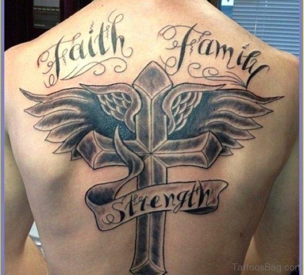 Cross And Angel Wings Tattoo