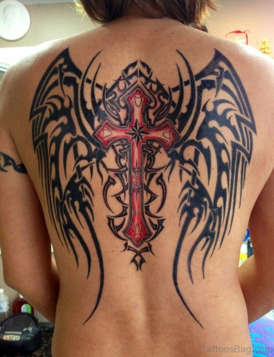 Cross And Angel Wings Tattoo On Back
