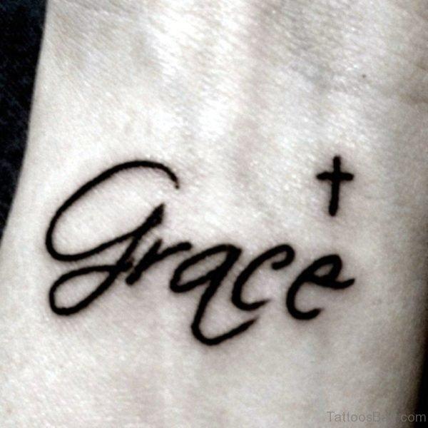 Cross And Name Tattoo
