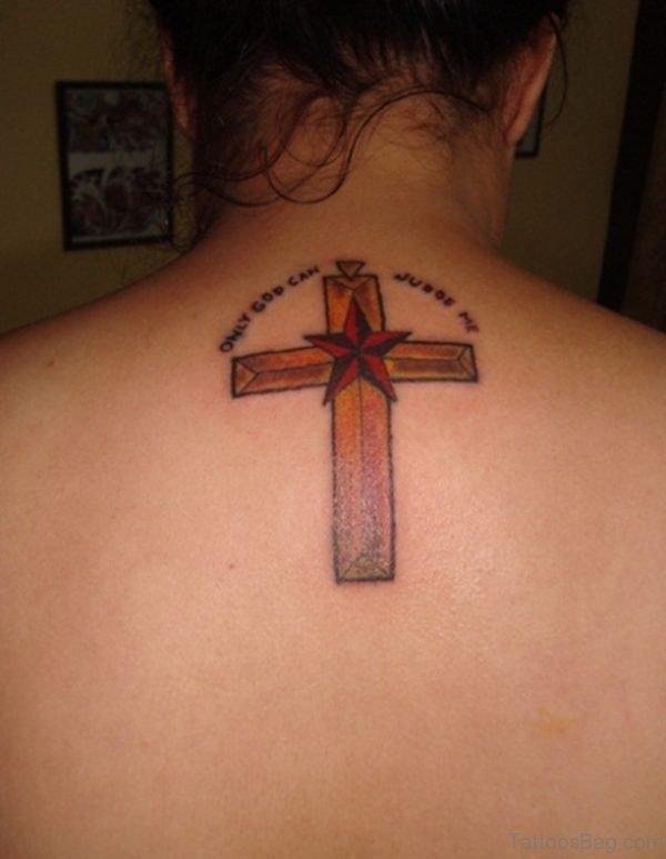 Cross And Star Tattoo