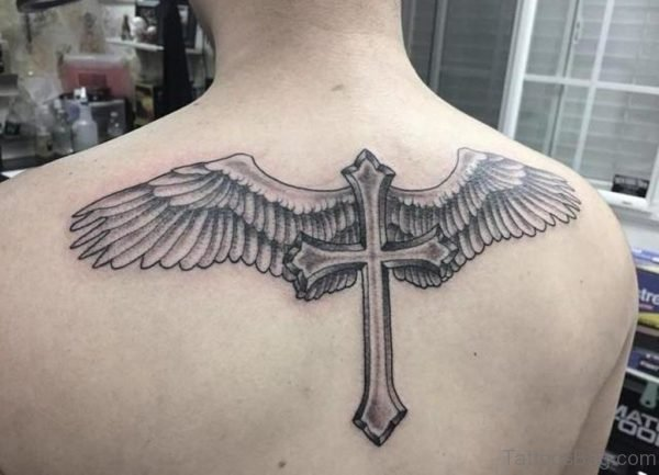 Awesome Cross And Wings Tattoo On Back