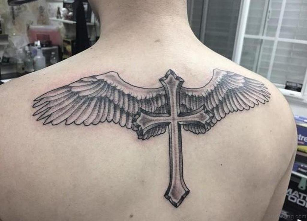 98 best cross with wings tattoos for back for Best cross tattoos