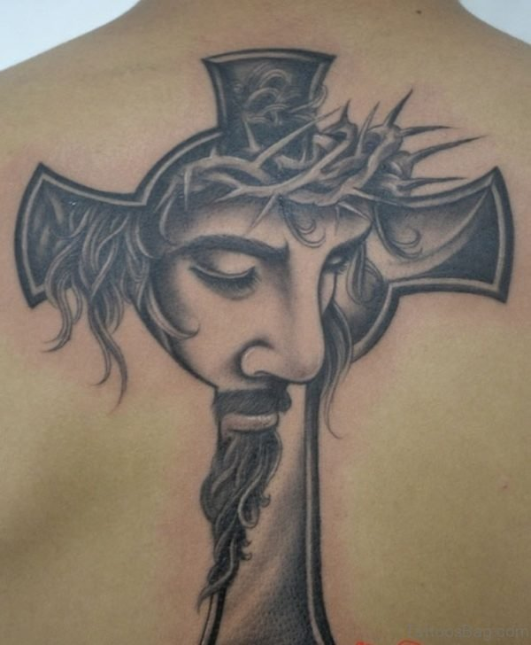 Cross And jesus Face Tattoo