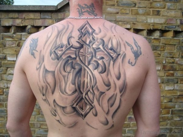 Cross Tattoo Design On Back