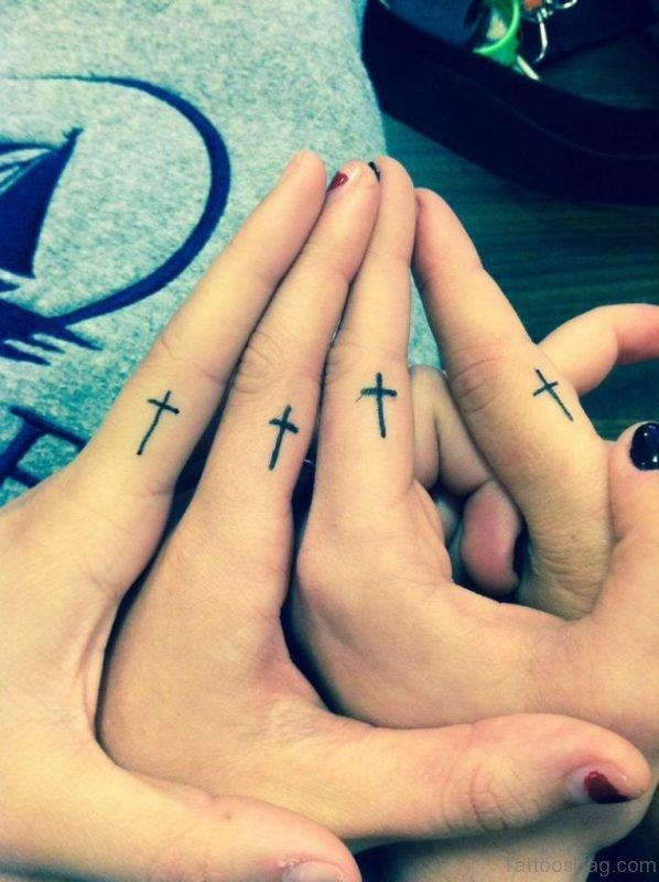Cross Tattoo Design On Fingers