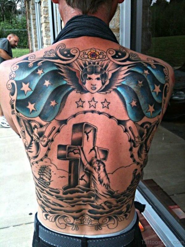 Cross Tattoo On Lower Back