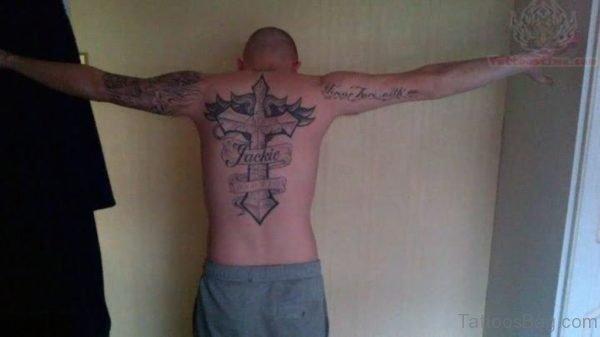 Cross Tattoo On Man Back