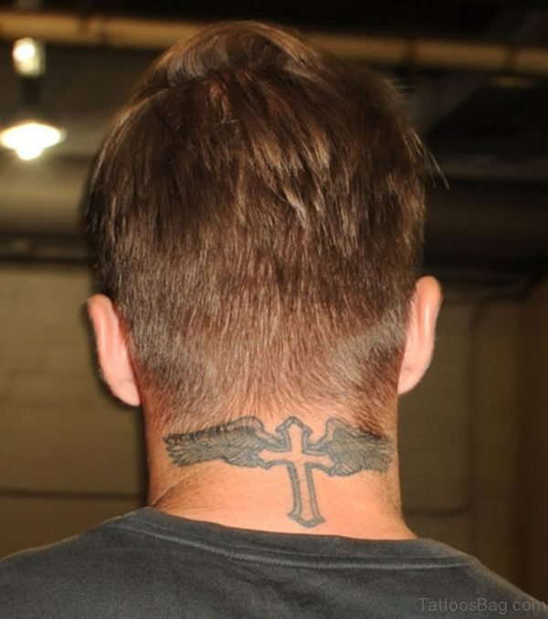 Cross Tattoo On Neck Back