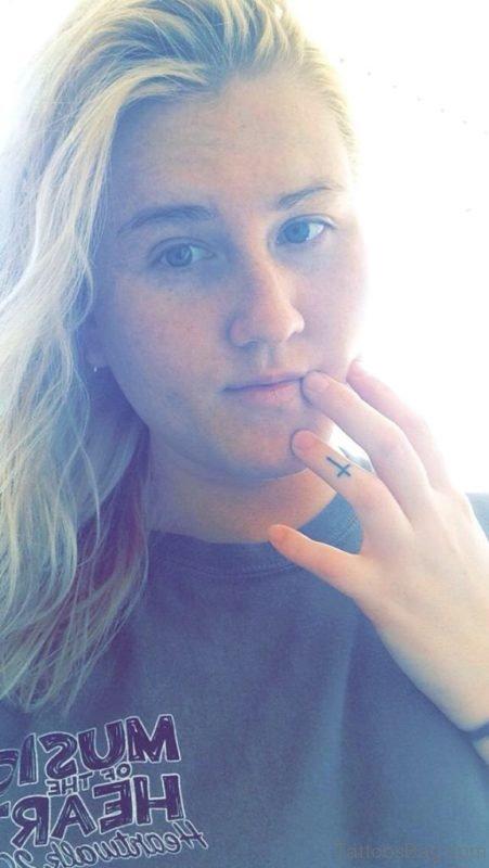 Cross Tattoo Design On Finger