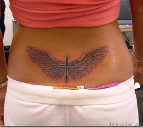 Cross Wings Tattoo On Lower Back