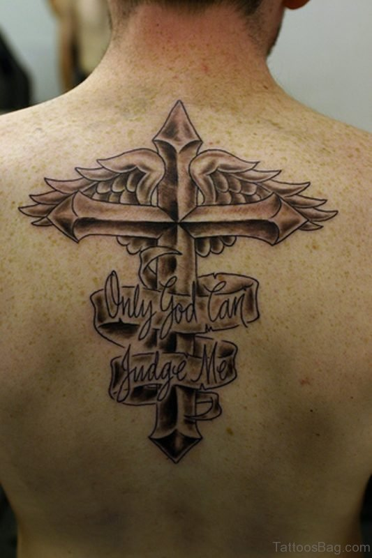 Cross With Heart Banner Tattoo