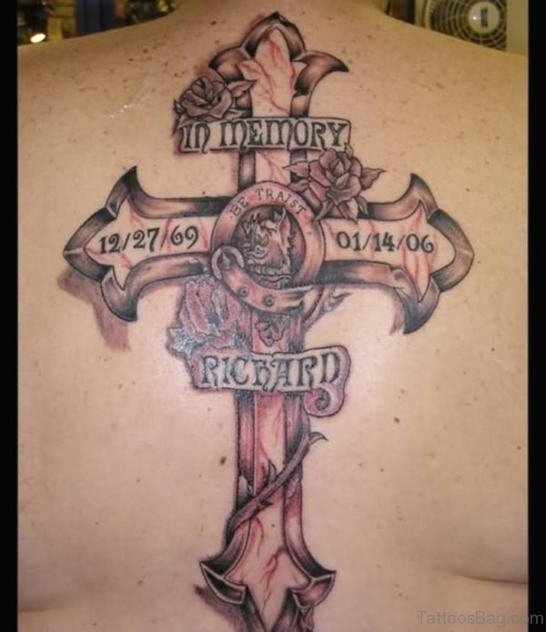 Cross With Roses And Banner Tattoo On Upper Back