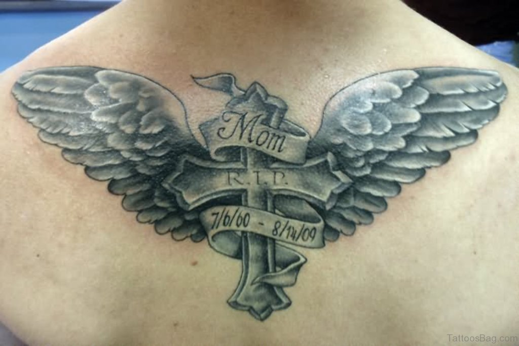 49 classy banner tattoos for back for Tattoo cross with wings