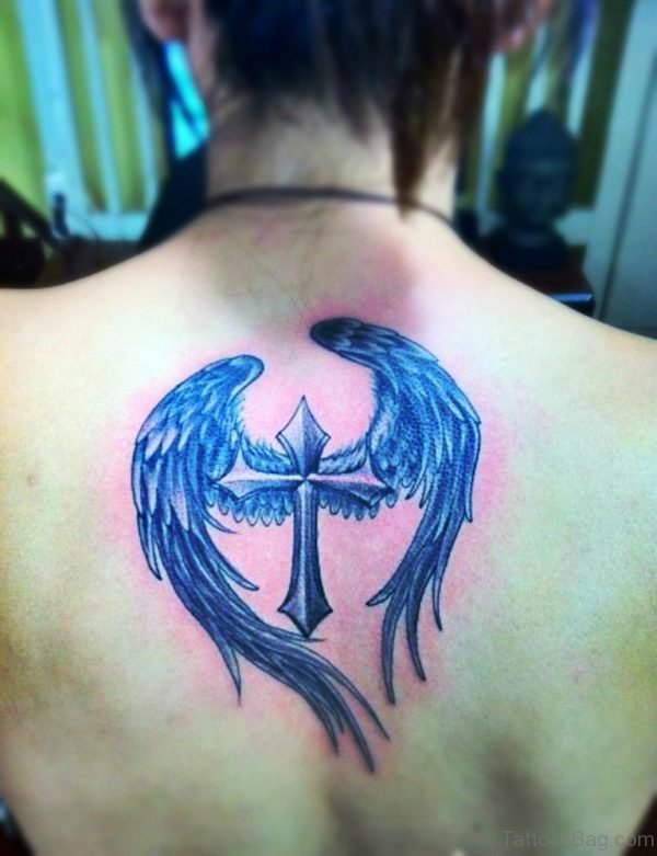 Cross With Wings Tattoo Design On Back