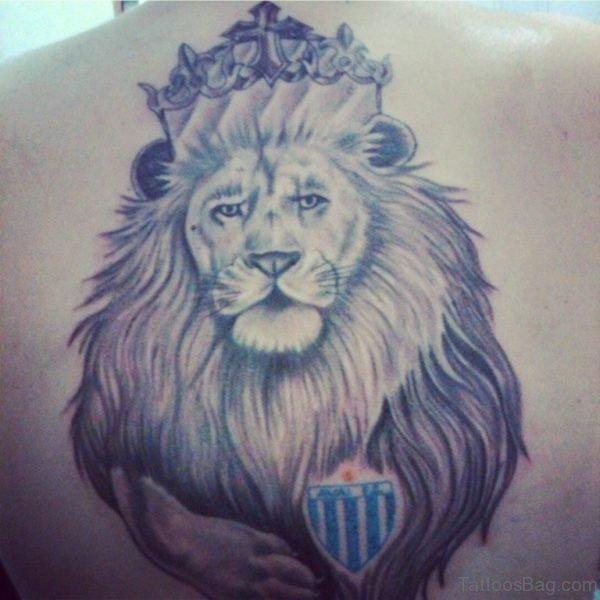 Crowned Lion Tattoo Design On Back