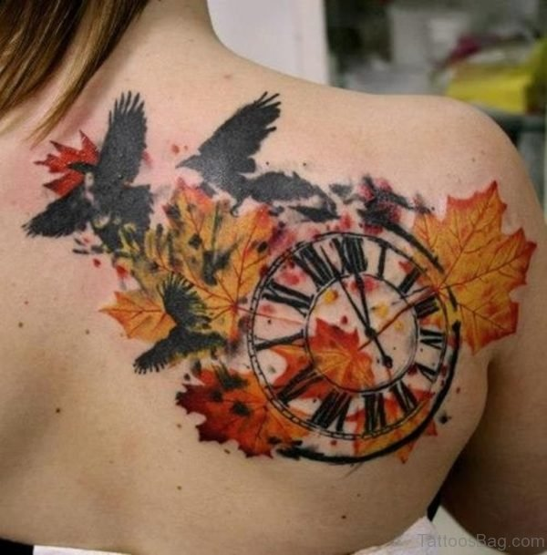 Crows Autumn Leaves And Clock Tattoo
