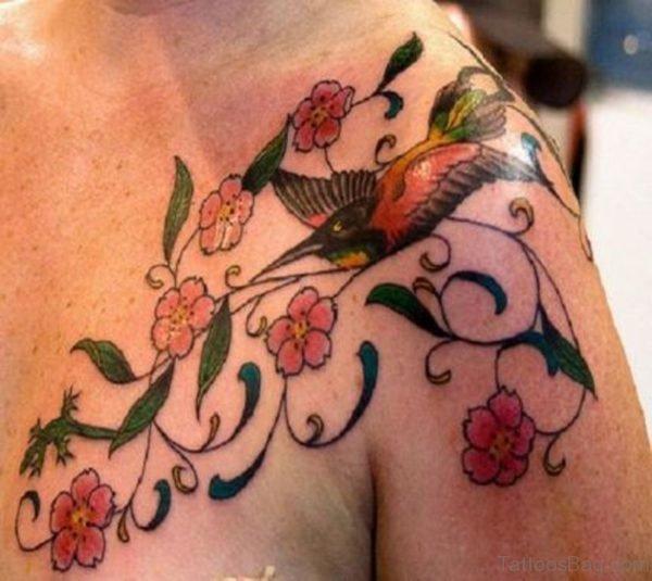 Cute Bird And Vine Tattoo