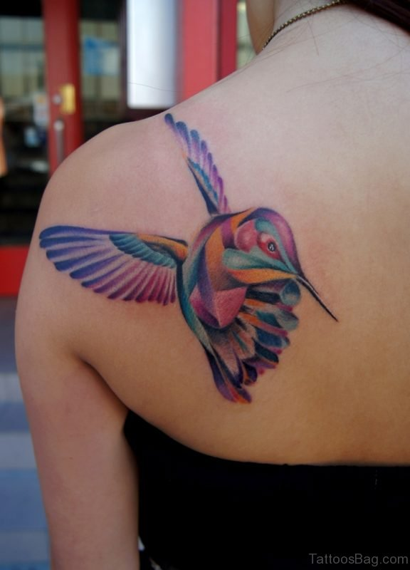 Colored Cute Bird Tattoo On Back