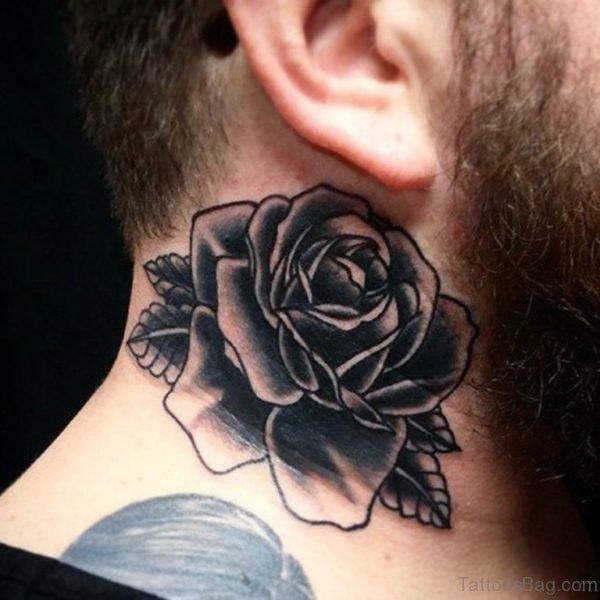 Cute Black Rose Tattoo On Neck