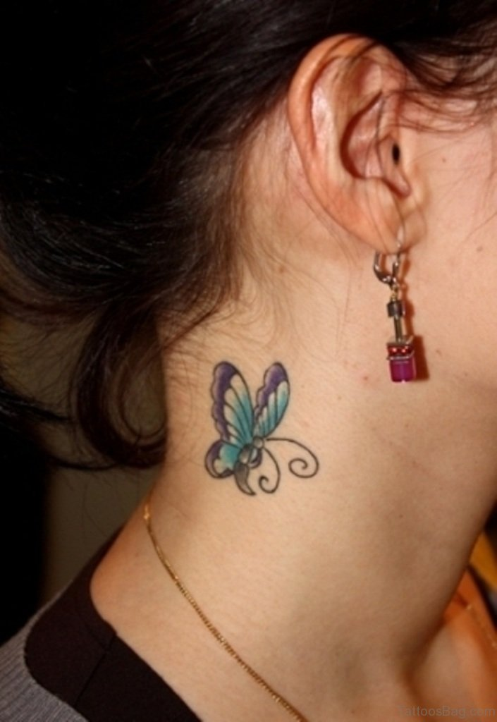Butterfly tattoos on side of neck