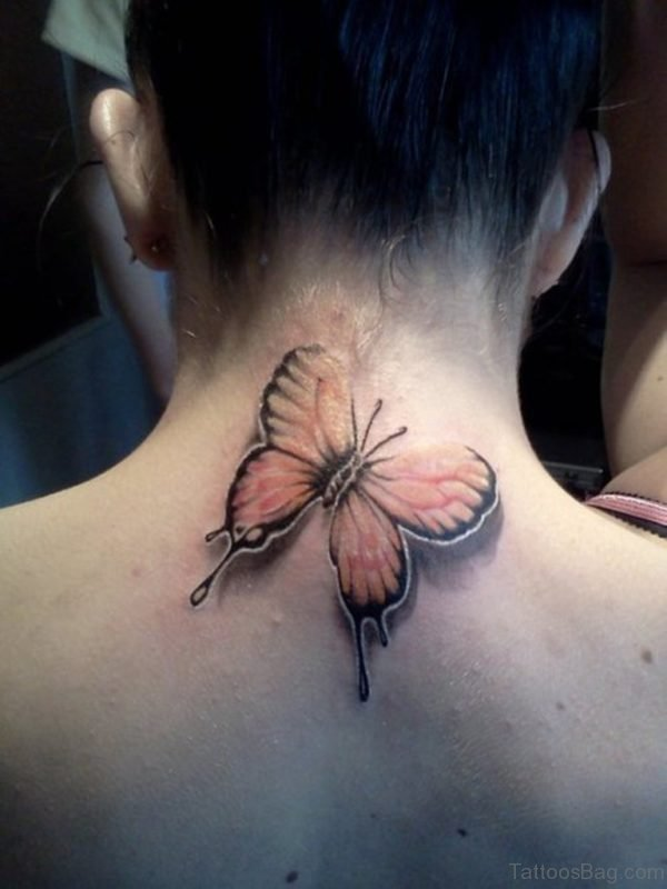 Cute Butterfly Tattoo On Neck