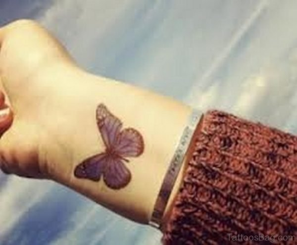 Cute Butterfly Tattoo On Wrist
