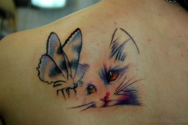 Cute Cat And Butterfly Tattoo