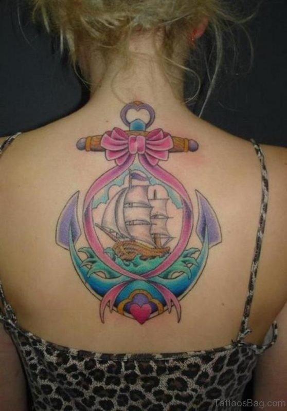 Cute Colored Ship Tattoo
