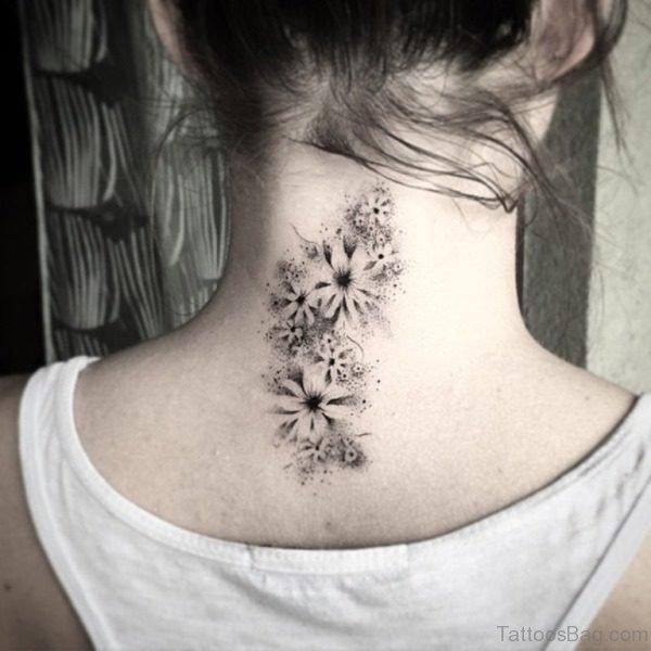 Cute Flower Tattoo On Neck