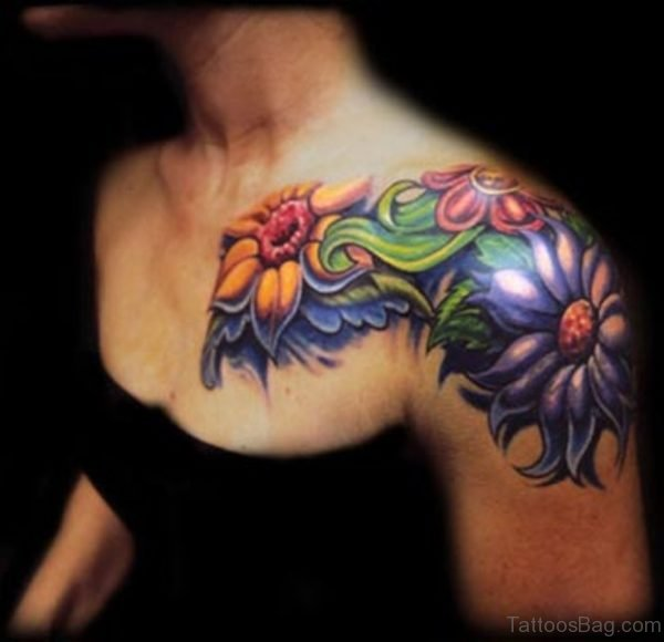 Cute Flower Tattoo On Shoulder