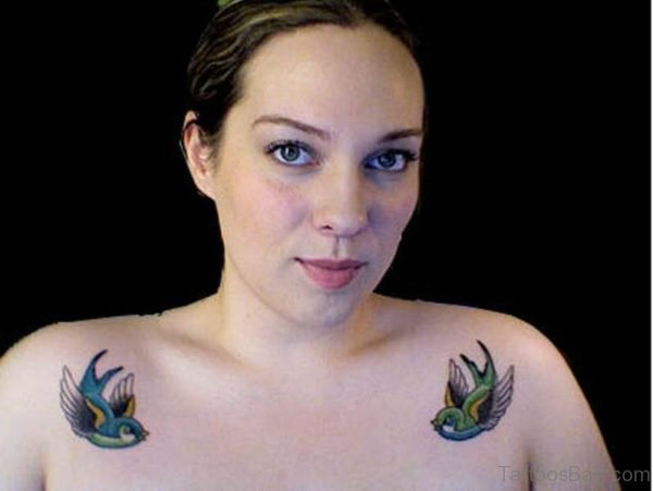 Cute Flying Sparrows Tattoo For Women