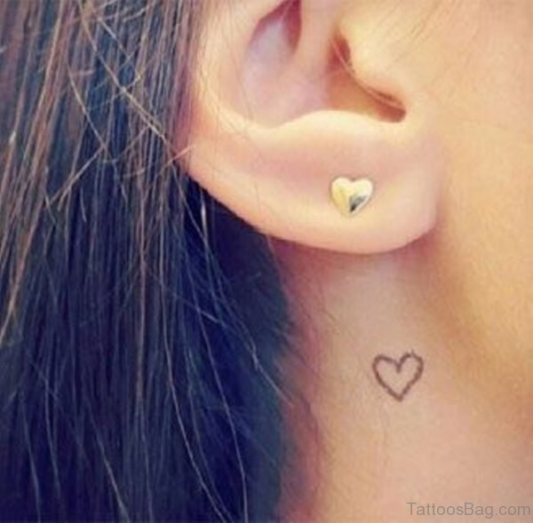 Cute Heart Tattoo On Neck