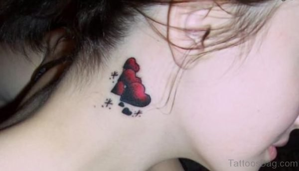 Cute Hearts Neck Tattoo