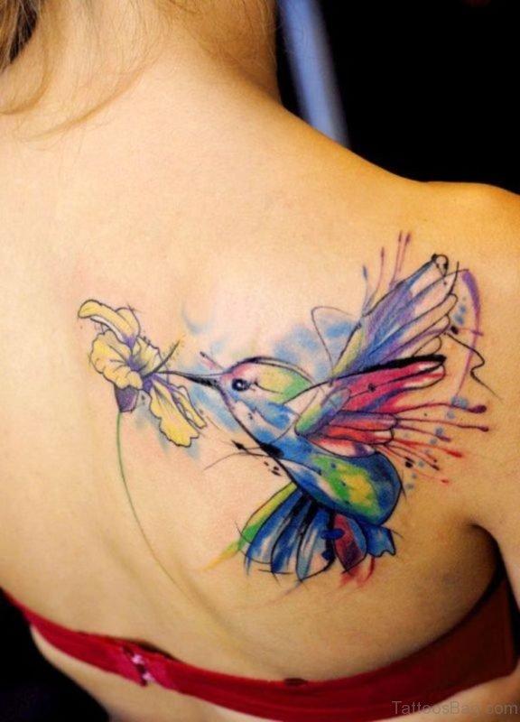 Cute Hummingbird Tattoo On Back