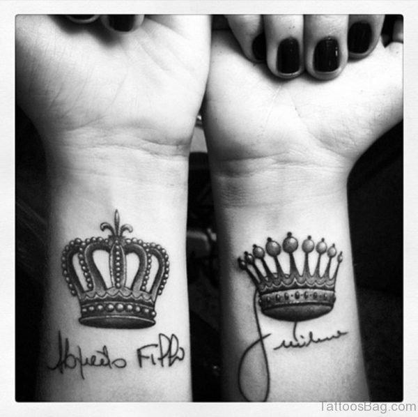 Cute King And Queen Crown Tattoo