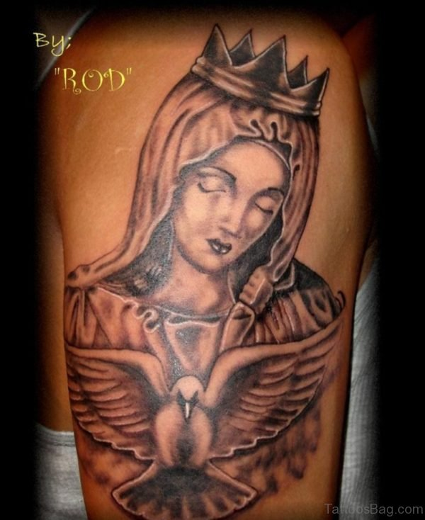 Cute Mary With Crown Tattoo