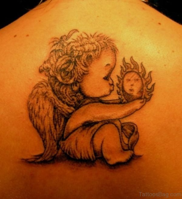 Cute Memorial Angel Tattoo
