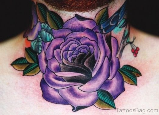 Cute Purple Rose Tattoo On Neck