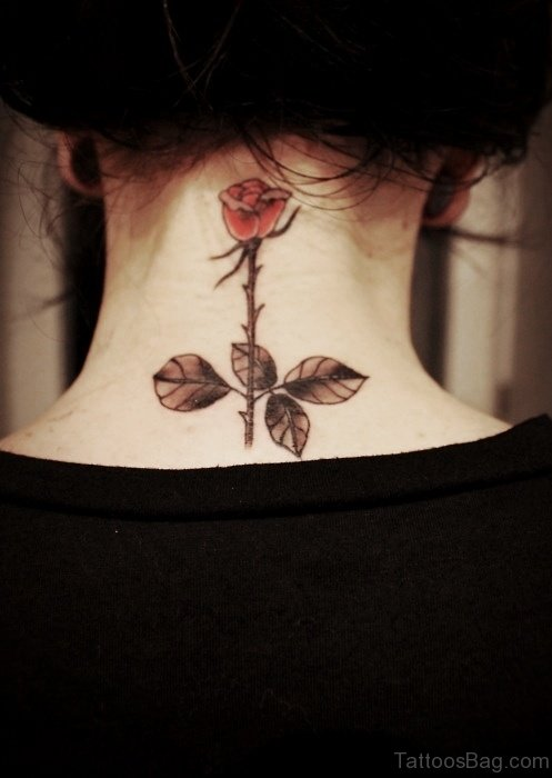 Cute Red Rose Tattoo On Neck