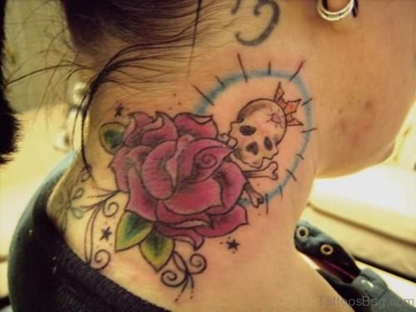 Cute Rose And Skull Tattoo On Neck