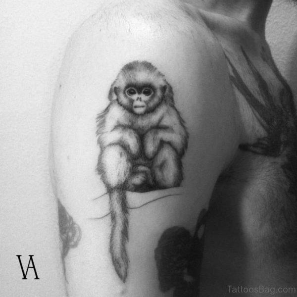 Cute Sitting Monkey Shoulder Tattoo