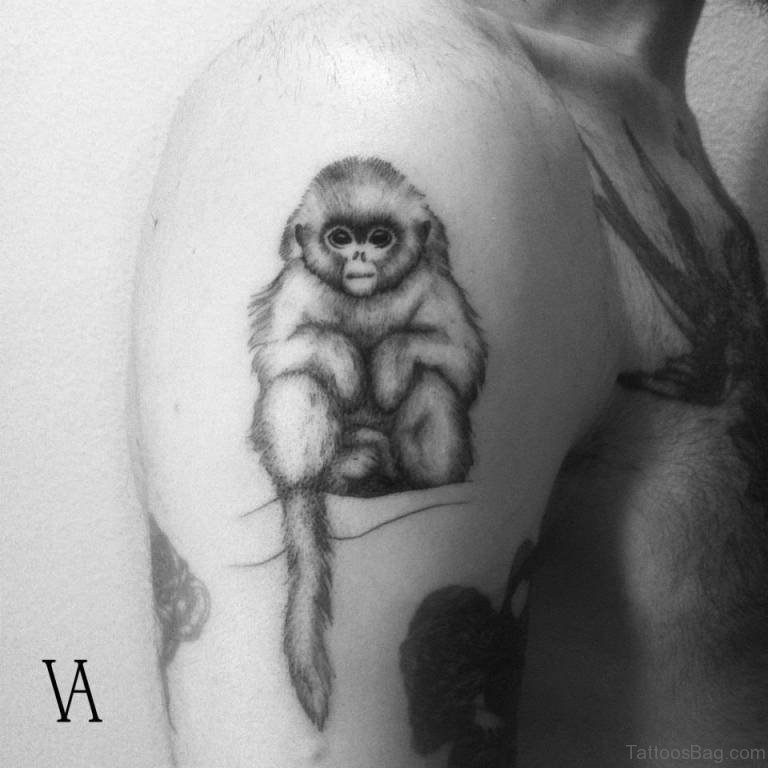 49 excellent monkey shoulder tattoos for Baby monkey tattoos