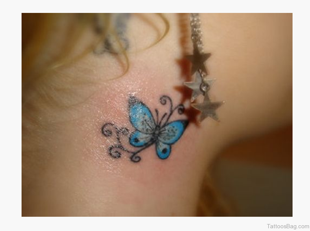 97 decent butterfly tattoos on neck for Cute butterfly tattoos