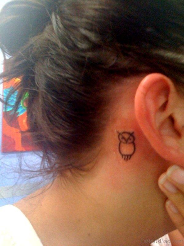 Cute Small Owl Tattoo On Neck Behind Ear