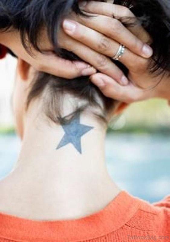 Cute Star Tattoo On Neck