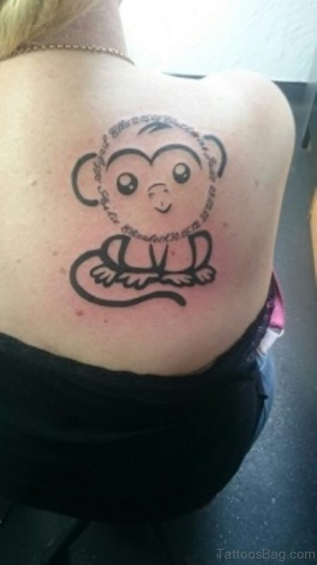 Cute Tiny Monkey Tattoo On Shoulder